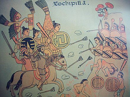 Viceroy don Antonio de Mendoza and Tlaxcalan Indians battle with the Caxcanes in the Mixton war, 1541-42 in Nueva Galicia. Xochipilla.jpg
