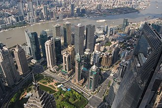 Shanghai Tower - Image: Yangtze River and SWFC from Shanghai Tower