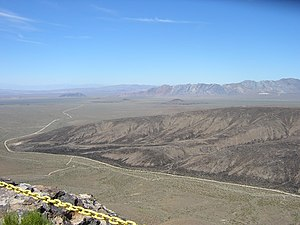 Yucca Mountain - View to the west from the top of Yucca Mountain