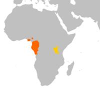 Naranja: Gorila occidental (Gorilla gorilla) Amarillo:  Gorila oriental (Gorilla beringei)