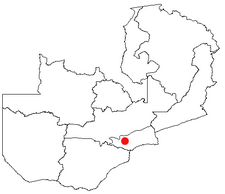 Location of Lusaka in Zambia