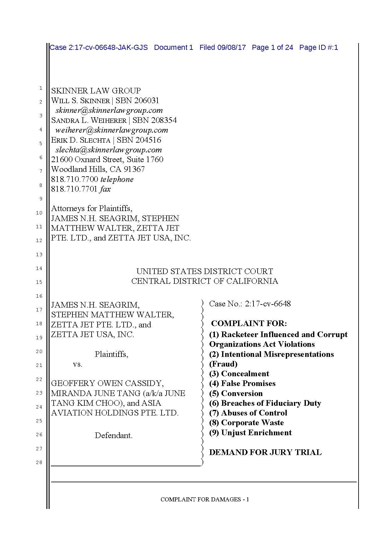 File:Zetta Jet vs  Geoffrey Cassidy fraud US District Court of