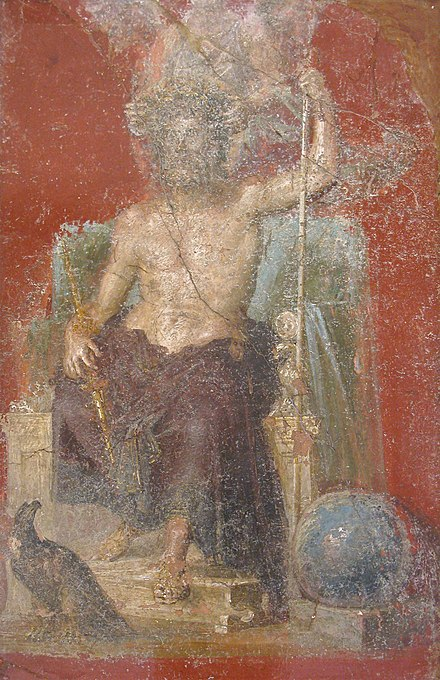 Jupiter holding a staff, with eagle and globe, a fresco from the Casa dei Dioscuri, Pompeii