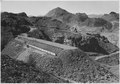 """Cableway runway at Elev. 1360 above Arizona spillway as seen from hill above spillway basin."" - NARA - 293742.tif"