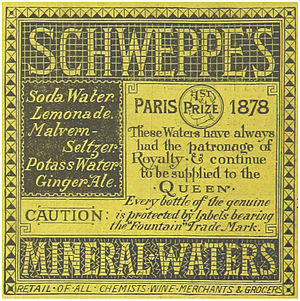 Schweppes - An 1883 advertisement for Schweppes Mineral-Waters