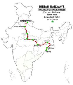 kalinga utkal express wikivisually Tibet Mountains Map puri haridwar kalinga utkal express route map