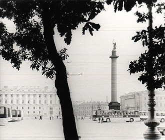Intourist - Intourist buses at the Palace Square, Leningrad, 1980