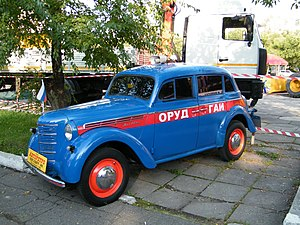 Road Traffic Control Department - Moskvitch 400-420 painted in the ORUD colours.
