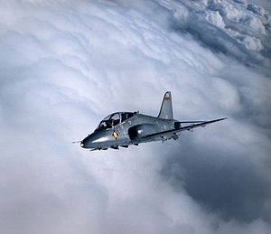 No. 100 Squadron RAF - 100 Squadron Hawk over Yorkshire, the flag can be seen below to cockpit.