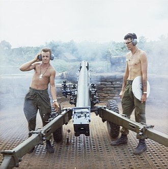 Battle of Long Tan - Australian gunners carry out a fire mission