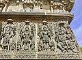 12th-century Brahma Shiva Vishnu next to Shiva Parvati at Shaivism Hindu temple Hoysaleswara arts Halebidu Karnataka India.jpg