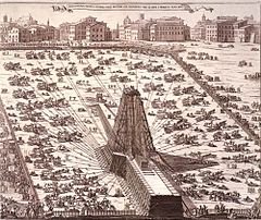 Re-erection of the obelisk on Saint Peter's Square in 1586.