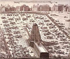 Re-erection of the obelisk in 1586