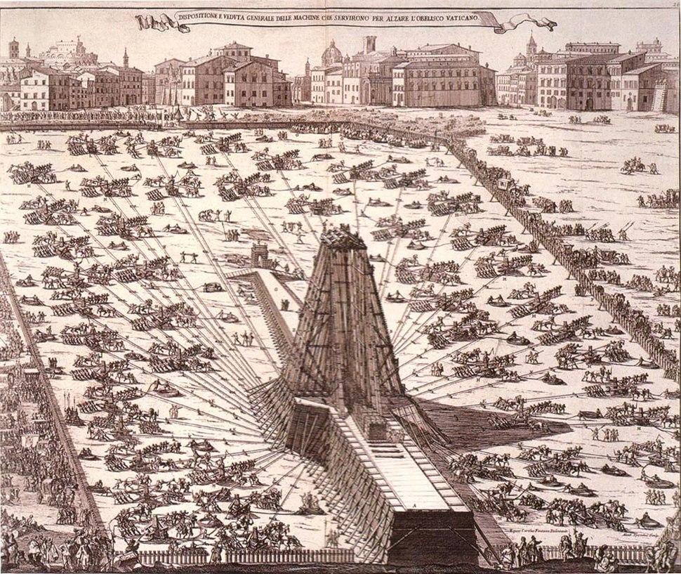 1586 Rome obelisk erection