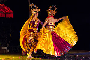 "Cendrawasih (dance) - Two cendrawasih dancers, with ""flirting"" movements"
