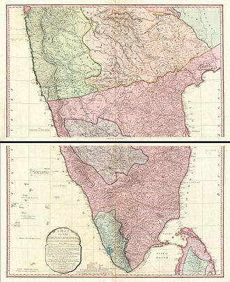 Anglo-Mysore Wars - Image: 1800 Faden Rennell Wall Map of India Geographicus India faden 1795
