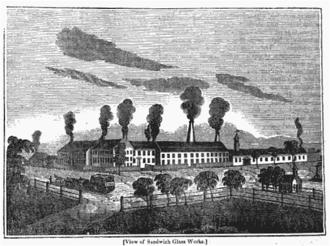 Boston and Sandwich Glass Company - Illustration of the manufactory in Sandwich from the American Magazine, 1835
