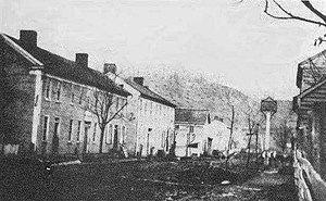 Philippi Historic District - An 1861 view of Main Street, Philippi.