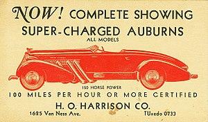 Advertising postcard - 1935 penny postcard advertising Auburn Automobiles