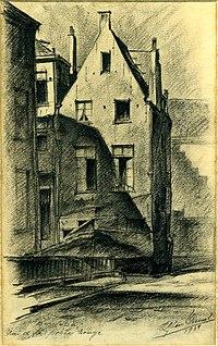 1939 rue de la Porte Rouge Maison Bruegel dessin par Léon van Dievoet 1939.JPG