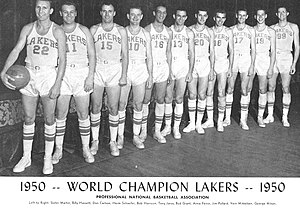 1950 NBA Playoffs - The 1949-50 NBA champion Minneapolis Lakers.