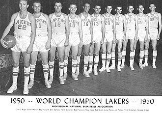 History of the Los Angeles Lakers - The 1949-50 NBA champion Minneapolis Lakers.