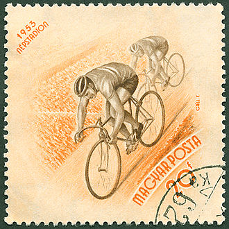 Tour de France (song) - The 1953 Hungarian postage stamp that formed the basis for the cycling motif