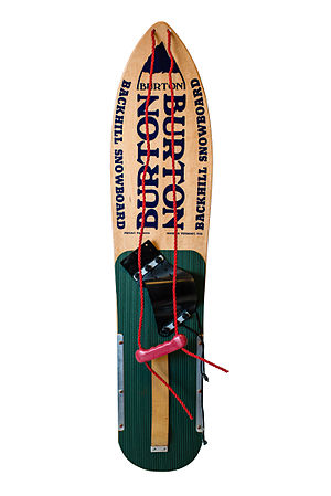 Burton Snowboards - Top view of a c. 1981 Burton snowboard in museum condition
