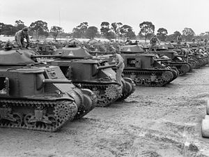 Second Australian Imperial Force - 1st Armoured Division M3 Grant tanks in June 1942
