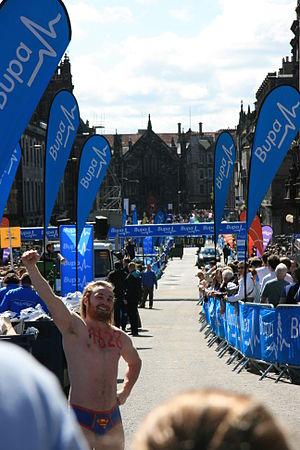 Great Edinburgh Run - A fun runner at the race finish point in 2009