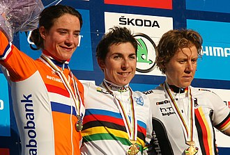Marianne Vos - Podium of the women's road race at the 2011 UCI Road World Championships; Giorgia Bronzini (1), Marianne Vos (2) and Ina-Yoko Teutenberg (3)