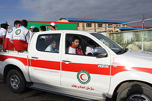2012 East Azerbaijan earthquakes - A relief car of Iranian Red Crescent