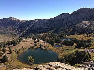 Dollar Lakes - Image: 2013 09 18 09 59 39 View northeast across the Dollar Lakes from a ledge near 10000 feet along the Ruby Crest National Recreation Trail in Lamoille Canyon, Nevada