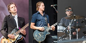 Interpol performing in 2015; from left to right: Daniel Kessler, Paul Banks, and Sam Fogarino