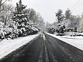 2018-03-21 11 51 23 View west along a slushy Thompson Road (Virginia State Route 669) at Indale Court (Virginia State Route 7355) in the Franklin Farm section of Oak Hill, Fairfax County, Virginia.jpg