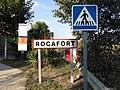 254 Rocafort, rètol d'entrada al poble des de Mura.JPG