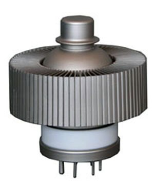 Triode - The 3CX1500A7, a modern 1.5 kW power triode used in radio transmitters.  The cylindrical structure is a heat sink attached to the plate, through which air is blown during operation.