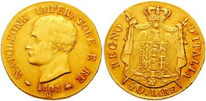 Coat of arms of Napoleonic Italy - Image: 40 lire 1808