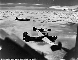703d Tactical Air Support Squadron - B-24 Liberators of the 445th Bomb Group on a mission over enemy-occupied territory