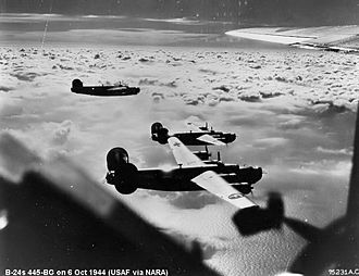 445th Operations Group - B-24 Liberators of the 445th Bomb Group on a mission over enemy-occupied territory