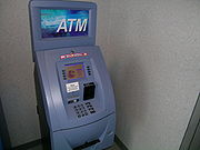 An ATM with card reader and PIN keypad.
