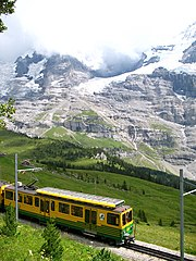 A Wengernalpbahn cog train in the Swiss Alps.