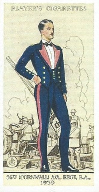 56th (Cornwall) Heavy Anti-Aircraft Regiment, Royal Artillery - 1939 Cigarette Card showing an officer of 56th (Cornwall) AA Regiment, RA, wearing Mess Dress