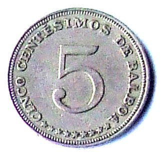 Panamanian balboa - Image: 5 centavos de balboa