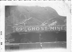 Frontier City - The former 89er Ghost Mine, one of the original attractions at Frontier City (1959 photograph)