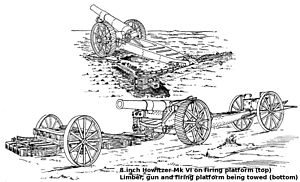 BL 8-inch howitzer Mk VI – VIII - Gun on Vickers firing platform, and limber, gun and platform being towed