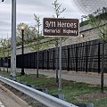 Just outside the Pentagon Memorial wall and fence lies 9/11 Heroes Memorial Highway (Virginia State Route 27) commemorating those who responded