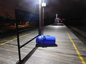 91st Street (Chesterfield) station - The 91st Street (Chesterfield) station in January 2019.