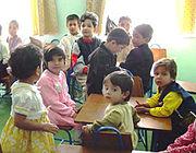 A kindergarten classroom in Afghanistan.