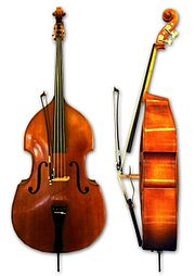 """The double bass is either plucked (pizzicato)or bowed (arco) (or much more rarely, struck with the bow, which is called """"col legno"""") depending on the genre and piece."""